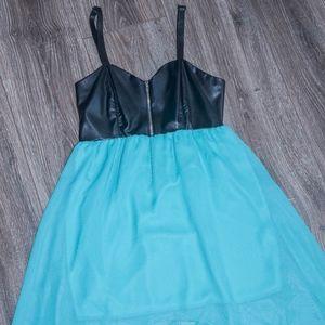 Spaghetti strap Faux leather hi-low dress
